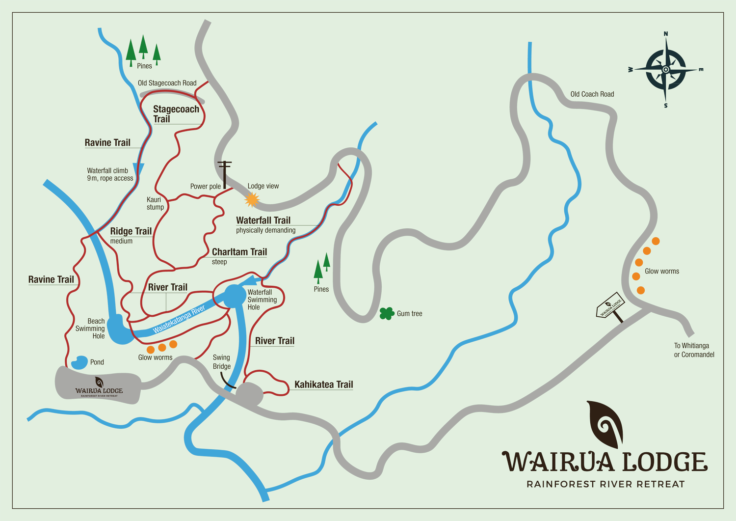 Map of the natural Trails at Wairua Lodge. Rainforest Trails, River Trails, Easy to challenging Trails.