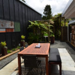 Finished courtyard of the Kiwi Apartment at Wairua Lodge