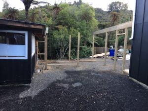 Building the new courtyard of the Kiwi Apartment at Wairua Lodge