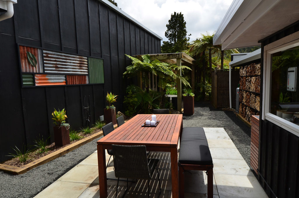 Finished courtyard of the Kiwi Apartment at Wairua Lodge