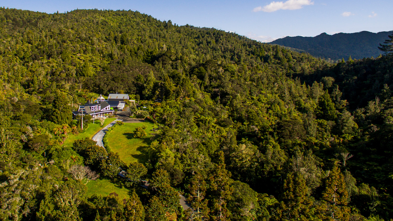 drone shot from Wairua Lodge