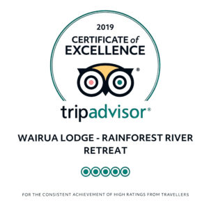 Certificate of excellence 2019 Wairua Lodge by Trip Advisor