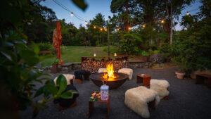 Firering firepit at Wairua Lodge