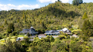 Wairua Lodge from above. Drone view.